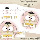Square Card Twit Twoo Graduation/Pass Exam GIRL(Retiring in July