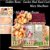 Golden Roses - Garden Shed Easel Card