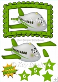 Toony face plane in green frame