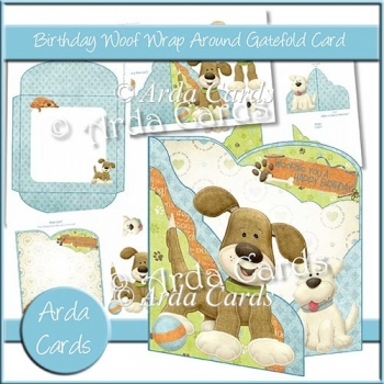 Birthday Woof Wrap Around Gatefold Card