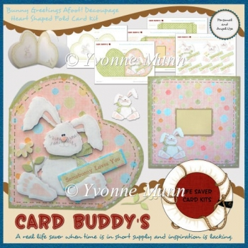 Bunny Greetings Afoot! Decoupage Heart Shaped Fold Card Kit