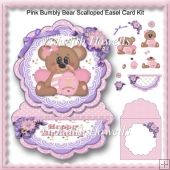 Pink Bumbly Bear Scalloped Easel Card Kit