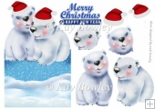 polar bears in santa hats over the edge card