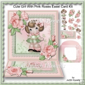 Cute Girl With Pink Roses Easel Card Kit