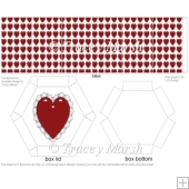 Red Lacy Heart Hexagonal Box