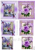 purple floral designs with butterflies small cards pyramids