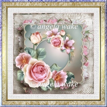 Pink rose 7x7 card with decoupage and sentiment tags