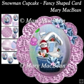 Snowman Cupcake - Fancy Shaped Card