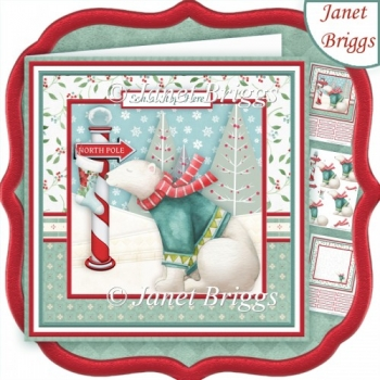 HANGING CHRISTMAS STOCKING AT NORTH POLE Decoupage & Insert Kit