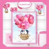 Penquin and Balloons valentine card set