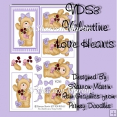 VDS3 Purple Love Heart Teddy Decoupage & Pyramage Toppers