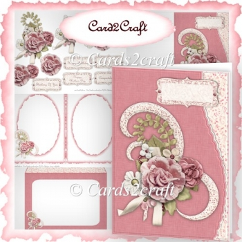 Wavy edge pink rose card set