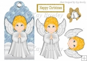 cute praying angel on a christmas tag
