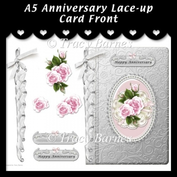 A5 Pink Anniversary Lace-up Card Front