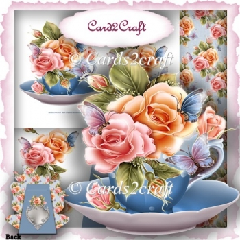 Tea cup and roses stand card