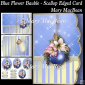 Blue Flower Bauble - Scallop Edged Card