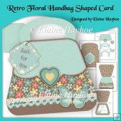 Retro Floral Handbag Shaped Card