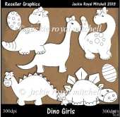 Dino Girls Colour Your Own Reseller Clipart
