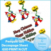 GSD Print n Cut Penquin Gift Decoupage Cutting File