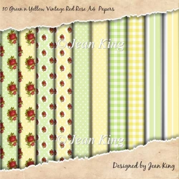 10 Green n Yellow Vintage Red Rose A4 Papers