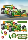 Formula 1 Racing Car Dude Green With Matching Insert