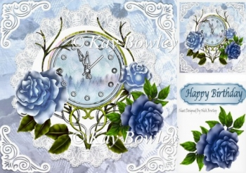Nearly Midnight! pretty clock with blue roses 8x8