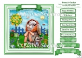 Bunny's Garden - Square Card Topper With Greetings Tags