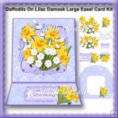 Daffodils On Lilac Damask Large Easel Card Kit