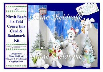 Nitwit Bears Over The Edge Concertina Card Kit & Bookmark