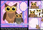 Mothers day Happy Birthday Owl Blue Frame Mini Kit