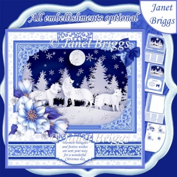 WINTER FOREST WOLVES Christmas or Birthday 7.8 Quick Layer Card