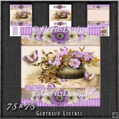 Vintage Stripes and Flowers soft purple 1207