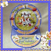 Cute Dog Birthday Plate Easel Card Kit