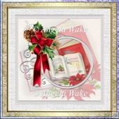 Christmas book and holly 7x7 card with decoupage
