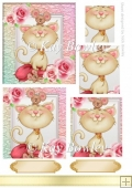 cute little kitty with mice and roses pyramids