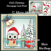 Owl's Christmas Decoupage Card Front