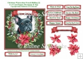 Christmas Poinsettias Watercolour French Bulldog (2) Puppy Dog