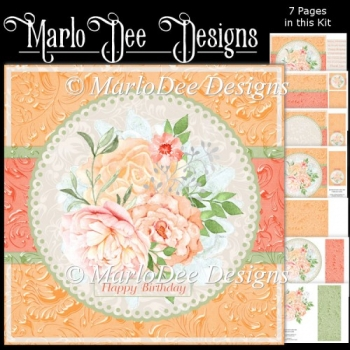 Beautiful Watercolor Flowers - 8x8 Peach & Green Mini Card Kit