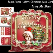 Santa Puppy - Merry Christmas Easel Card