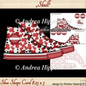 Sneaker Shoe Shape Card Skull Red