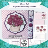 Flower Tub Asymmetric Offset Decoupage Card & Envelope & Insert