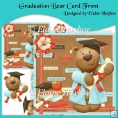 Graduation Bear Card Front with Decoupage