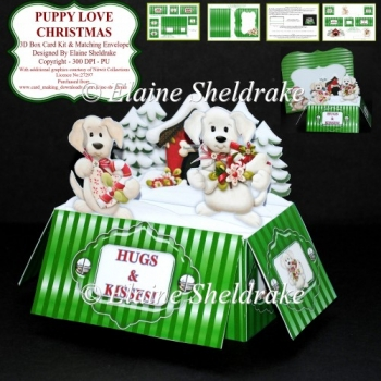 Puppy Love Christmas 3D Box Card Kit & Matching Envelope - PU