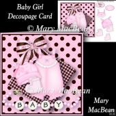 Baby Girl Decoupage Card Front