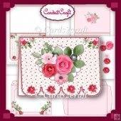 Fancy bottom pink rose and heart card set