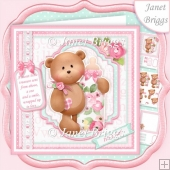 BABY GIRL BEAR & BOTTLE 7.5 Decoupage & Insert Mini Kit
