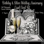 Birthday & Silver Wedding Anniversary 8 x 8 Easel Card Kit