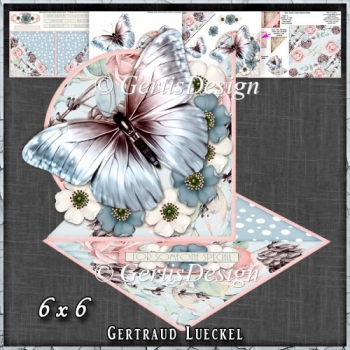 Beautiful Blue Blus Butterfly and flower Easel with a Twist 1429