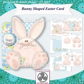 Bunny Shaped Easter Card with Envelope and Insert