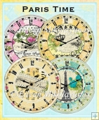 Paris Time Clock Faces Collage Embellishments